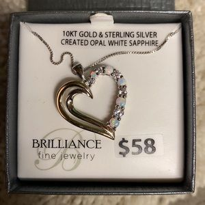 Diamond and Opal Heart Necklace